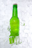 Fles Bier op Ijs Stock Foto's