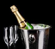Fles champagne Stock Fotografie