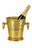 Fles champagne in ijsemmer op wit wordt geïsoleerd dat Royalty-vrije Stock Fotografie