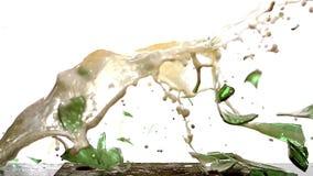 Fles die Bier, en op Staalplaat tegen Witte Achtergrond breken bespatten vallen stock videobeelden