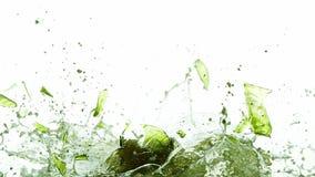 Fles die Bier en tegen Witte Achtergrond breken bespatten, stock video
