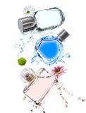 Fles drie verschillende kleurenparfums Stock Foto