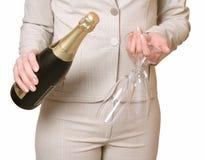 Fles een champagne en twee glazen Royalty-vrije Stock Afbeelding