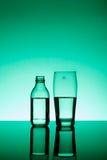 Fles en bier-glas stock foto