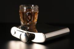 Fles en cognac royalty-vrije stock afbeeldingen