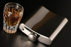 Fles en cognac royalty-vrije stock fotografie