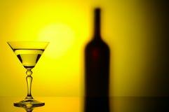 Fles en glas Stock Foto
