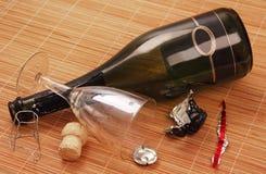 Fles en glas. Royalty-vrije Stock Afbeeldingen