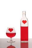 Fles en glas Royalty-vrije Stock Foto's