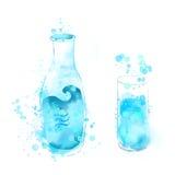 Fles en glas blauw water watercolor Royalty-vrije Stock Afbeelding