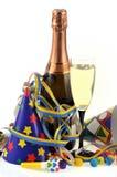 Fles en glas champagne stock afbeelding