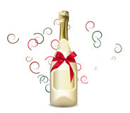 Fles en glas champagne Royalty-vrije Illustratie