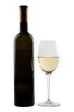 Fles en glas fijne witte wijn Royalty-vrije Stock Foto's