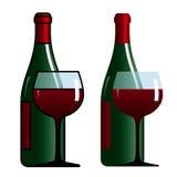 Fles en glas met wijn Stock Afbeeldingen