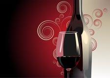 Fles en glas rode wijn Stock Afbeelding