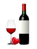 Fles en glas rode wijn die op wit wordt geïsoleerd$ Royalty-vrije Stock Foto