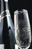 Fles en glas V van Champagne Royalty-vrije Stock Foto