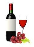 Fles en glas van rode die wijn en druif op wit wordt geïsoleerd Royalty-vrije Stock Afbeelding