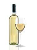 Fles en glas van wijn Stock Afbeeldingen