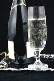 Fles en glas VIII van Champagne Stock Fotografie