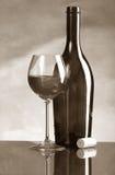 Fles en glas wijn Royalty-vrije Stock Fotografie
