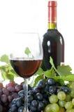 Fles en glas wijn Stock Foto