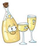 Fles en glazen royalty-vrije illustratie