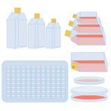 Fles en platen voor cel het cultiveren Stock Foto's