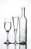 Fles en twee glazen Royalty-vrije Stock Afbeeldingen