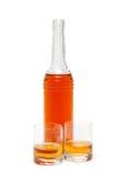Fles en twee glazen Stock Afbeelding