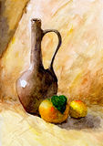 Fles en twee sinaasappelen Stock Foto