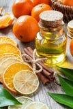 Fles essentiële citrusvruchtenolie, droge sinaasappel en citroenplak Stock Foto