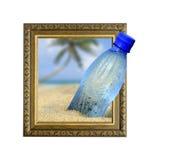 Fles in kader met 3d effect Stock Afbeelding