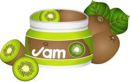 Fles Kiwi Jam Royalty-vrije Stock Afbeeldingen