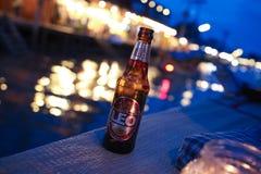 fles koud Leeuwbier op donkere bruin stock fotografie