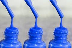 Fles lak voor de vingernagels Vrouwen` s acrylverf, gelverf voor spijkers Lak gemengde kleuren voor vingernagels Stock Afbeeldingen