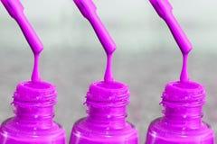 Fles lak voor de vingernagels Vrouwen` s acrylverf, gelverf voor spijkers Lak gemengde kleuren voor vingernagels Zorg voor wome Stock Afbeeldingen