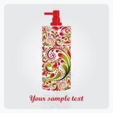 Fles lotion, van het bladpatroon dat wordt gemaakt. Royalty-vrije Stock Afbeeldingen