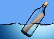 Fles met bericht Royalty-vrije Stock Fotografie