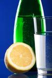 Fles met citroen Stock Foto