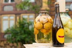Fles met de hand gemaakte appelcider stock foto's