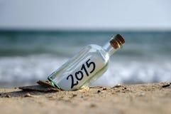 Fles met een bericht, 2015 Stock Afbeeldingen