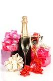 Fles met een champagne royalty-vrije stock afbeelding