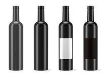 Fles met geïsoleerdg etiket Stock Foto's