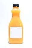 Fles met jus d'orange op witte achtergrond stock afbeelding