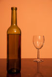 Fles met leeg glas Royalty-vrije Stock Foto's