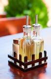 Fles met olie en vinegar_2 Stock Foto