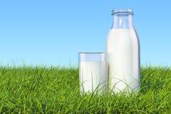 Fles met organisch melk en glas melk in groene grass ag Royalty-vrije Stock Afbeelding