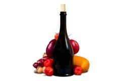 Fles met vruchten en groenten Stock Foto