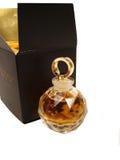 Fles parfum met mooie zwarte doos Stock Foto's